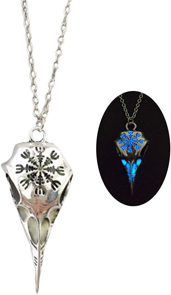Raven Bird Pendant Necklace Luminous Viking Eagle Crow Skull Head Skeleton Necklace for Women Men Teen Glow in The Dark Halloween Jewelry Gift