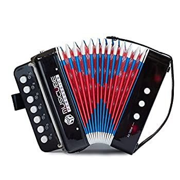 MUSICUBE Kids Accordion Instrument Toys 10 Keys Button Small Accordion for Boys & Girls Educational Musical Instrument Toys Christmas Gift Choice  BLACK