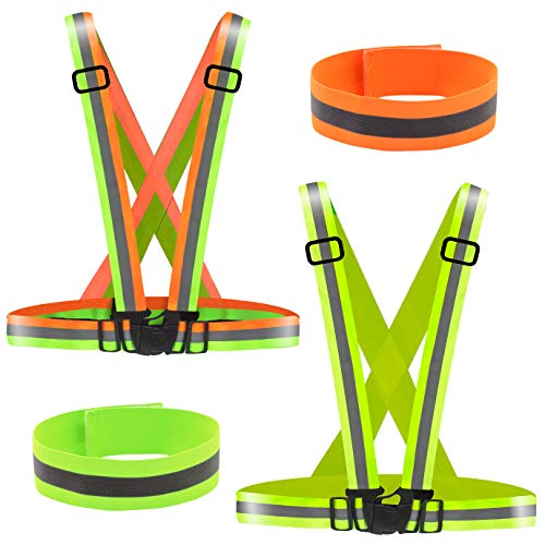 WXJ13 2 Pack Hi Vis Running Vest High Visibility Reflective Gear for Outdoor Jogging Cycling Motorcycle Riding Walking and Running