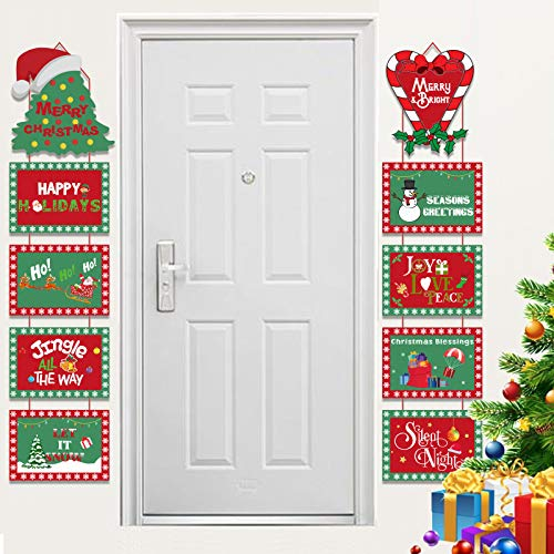 HOWAF Pancarta Letrero Puerta de Navidad para Photo Props Decoracion, 10pcs Navidad Papel Tarjetas para Árbol de Navidad...