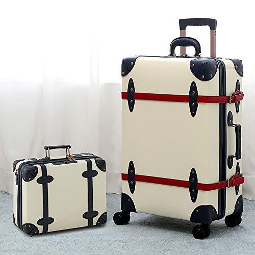KGDUYH Maleta Moda con Equipaje de Cuero Vintage, Hombres y Mujeres, de Gran Capacidad, Maleta de Tranquilidad de 26/28 Pulgadas para Viajes de Negocios (Color : Ivory White Set, Luggage Size : 24')