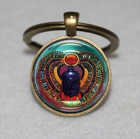Llavero Scarab Llavero de azulejos de cristal, llavero egipcio, llavero único, regalo personalizado, llavero de regalo diario
