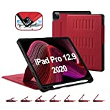 TSOMEI CASE for iPad Pro 12.9 Inch 4th&3rd Generation 2020/2018 Release - 7 Angles Magnetic Stand + Premium Synthetic Leather + Wireless Charging of Pencil + Pencil Holder - Sleep/Wake Cover, Red