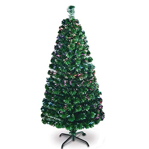 Kerrogee 7 ft Pre-lit Artificial Christmas Tree, Pure Fiber Optic Multi Light Sources Firework Douglas Fir Xmas Tree with Sturdy Metal Stand