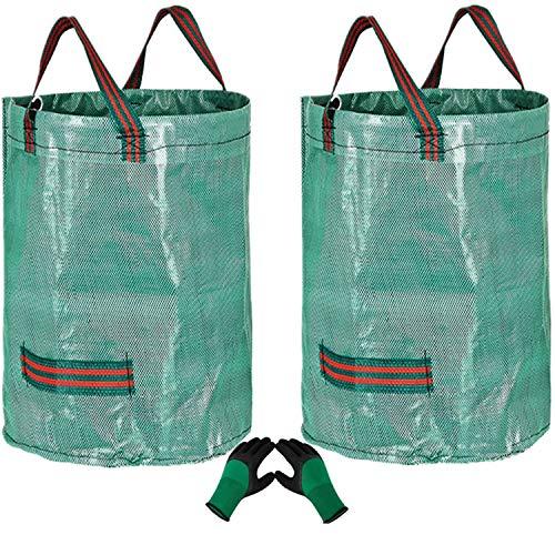 2 x 300 l robuste Gartenabfallsäcke (H84 cm, D67 cm) und 1 Gartenhandschuhe, Müllbeutel, wiederverwendbare Gartenabfallsäcke, Grasschneidebeutel, Laubbeutel, Gartenbeutel, Säcke mit Griffen