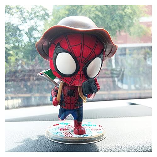 Ornamento del coche Superhero Spiderman Head Head Cabeza Decoración de automóviles Adornos Centro de automóviles Decoración de la consola Sacudiendo la muñeca de la cabeza...