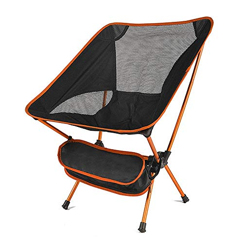 AOSIKA Tragbare Campingstühle Liegestühle Angeln Outdoor-Camping-Picknick Angeln Werkzeug Stuhlsitz Wandern (Color : Orange)