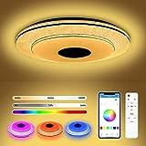 Lámpara Led Techo Con Altavoz Bluetooth, 36W Lampara Techo Dormitorio con RGB, lamparas de techo juveniles compatibles con aplicaciones móviles y control remoto
