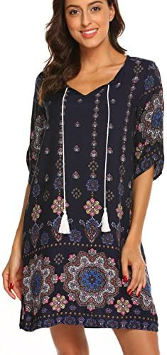 Women s Bohemian Vintage Printed Loose Casual Boho Peasant Tunic Dress Navy Blue L product image