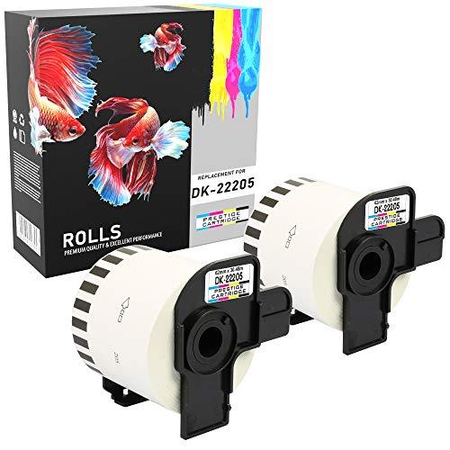 Prestige Cartridge 2x DK-22205 DK22205 Etiquetas Continuas Compatible con Brother P-Touch QL-500 QL-570 QL-700 QL-710W QL-720NW QL-800 QL-810W QL-820NWB QL-1050 QL-1100 QL-1110NWB, 62mm x 30.48m