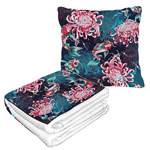 Diferentes hermosas almohadas de viaje para aviones de crisantemo suave 2 en 1 combo de tamaño de viaje para camping, viajes en coche, avión, manta de viaje para cualquier viaje