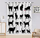 Increíbles cortinas opacas para gatos, siluetas de gato negro en diferentes posturas domésticas, patas de gatito, cola y bigotes, juego de 2 paneles, 213 cm de ancho x 213 cm de largo, negro y blanco