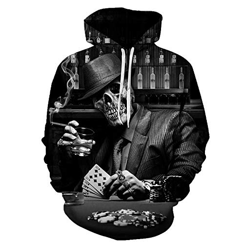 GEFANENR Unisex 3D Druck Hoodie,Glücksspiel Skull Männer Frauen Liebhaber Hoodie Pullover Sweatshirt Jacke Pullover Shirt Wild Big Size Neuheit Hoodie Fell,4XL