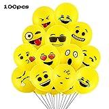 Goushy 100pcs Palloncini Colorati Emoji Emoticon per Compleanni Festa per Bambini,Natale,Party, Matrimoni, Nozze Decorazione regalini fine
