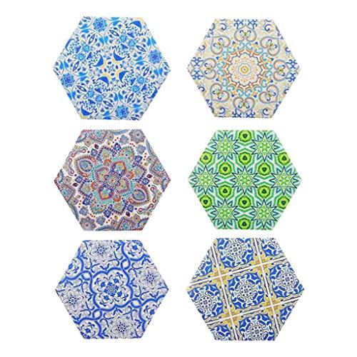 perfk Paquete de 6 Posavasos de Corcho de Estilo Turco de Cerámica Absorbente con Aislamiento Térmico Multicolor, Almohadillas para Tazas de Cocina, Mantel