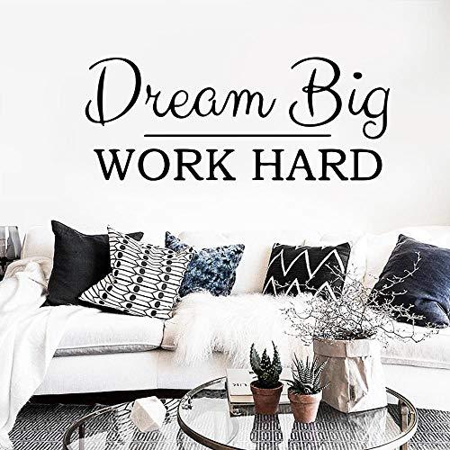 Citations de mode Dream Big Job Hard Phrase Stickers muraux, Stickers muraux de bureau, Décoration d'intérieur, Salon Chambre Étude Art Autocollants56x23cm