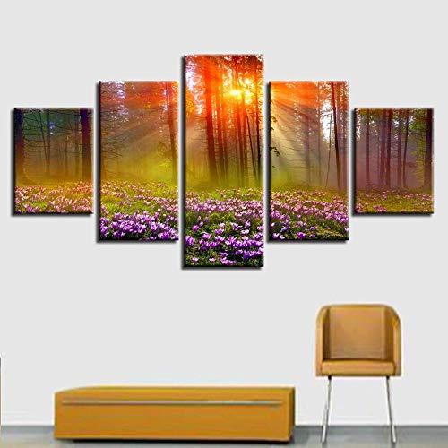 Sanzx Salon Décoration Maison Mur Art Photo Hd Imprimer 5 Pièces Terre Planète Belle Nuit Étoilée Nuit Scène Modulaire Toile Peinture30 * 40 * 2 30 * 60 * 2 30 * 80 Cm Sans Cadre