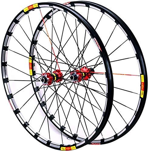 YZU MTB Cerchio Della Bicicletta 26 27.5 29 In Racing Road Bike Wheelset Disco Freno Ruote 7-11 Velocità Cassette Mozzi In Fibra di Carbonio Sigillato Cuscinetti 24 Fori, Rosso hub, 29 pollici
