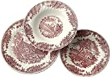 Churchill Earthware Decoro Drookpink - Servicio Platos, Porcelana, Color Blanco/Rojo, 18 Unidades