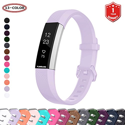FunBand Compatible per Cinturino Fitbit Alta HR & Fitbit Alta, Regolabile Cinturino Edizione Speciale Morbido Sportivo in Silicone per Fitbit Alta HR/Alta Battito Cardiaco Smart Watch (Lavanda)