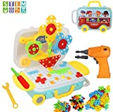 Juguetes Montessori Juguete con la Herramienta Tornillo Puzzles 3D eléctrico Rompecabezas Bricolaje Regalos Educativos para Infantiles Niños 3 4 5 6 7 Años (258 Piezas)