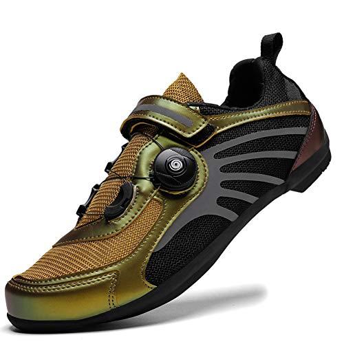 Charmstep Fahrradschuhe Herren Damen Anti-Skid Atmungsaktiv Radschuhe Rennradschuhe MTB Schuhe Flat Ohne Klicksystem,Gold,45 EU