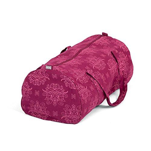 Bodhi Hot Yoga Bag, Maharaja Collection, Berry mit Lotus Print, Yogatasche aus Baumwolle mit wasserfestem Innenfutter, Sport-Tasche mit Naßfach