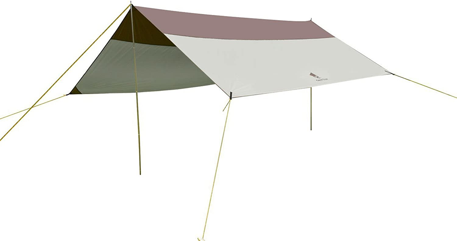 GEERTOP 5  8 Persons Waterproof Rain Fly Sun Shelter Tent Tarp 16'5'' x 14'5'' for Camping  Poles included  Grey