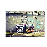 HYY-YY Graffiti Banksy Leinwand Wandkunst Malerei Kinder pinkeln Bunte Regen abstrakte Poster Leinwanddrucke Bilder Wohnzimmer 23,6'x 35,4' (60x90cm) Kein Rahmen