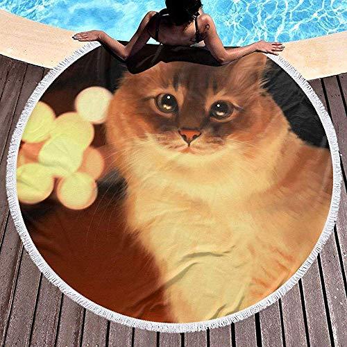 Duanrest strandhanddoek deken stille nacht kaars kat kitty dikke grote strand ronde cirkel picknick tapijt yoga mat met kwast voor volwassenen