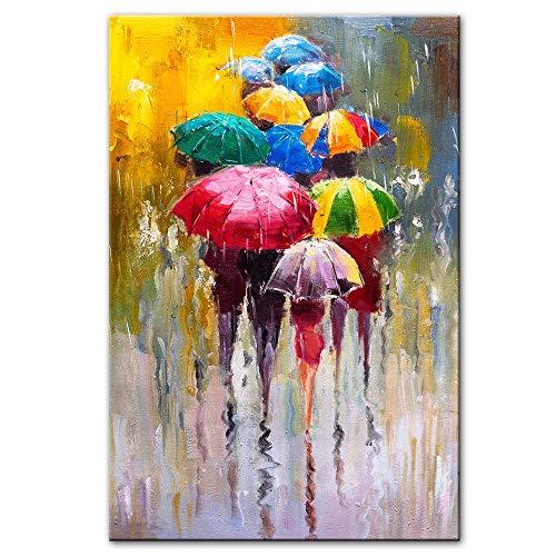 LWJZQT Abstrakte Porträt Ölgemälde Druck Auf Leinwand Kunstdrucke Mädchen Mit Einem Regenschirm Wandkunst Bilder Home Wanddekoration 70 × 100 cm