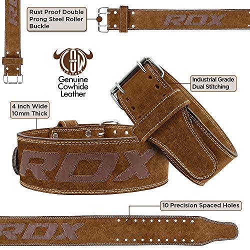 Authentisch RDX Gewichthebergürtel Nubuk Leder Kraft Gewichtheben Strap Rückenstütze DE - 4