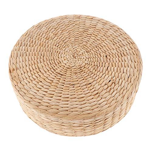 Fenteer Gewebtes Strohgewebe Bodenkissen Sitzkissen Yogamatte, rund, geflochten, Sitzhöhe 30cm - 30x30x10cm