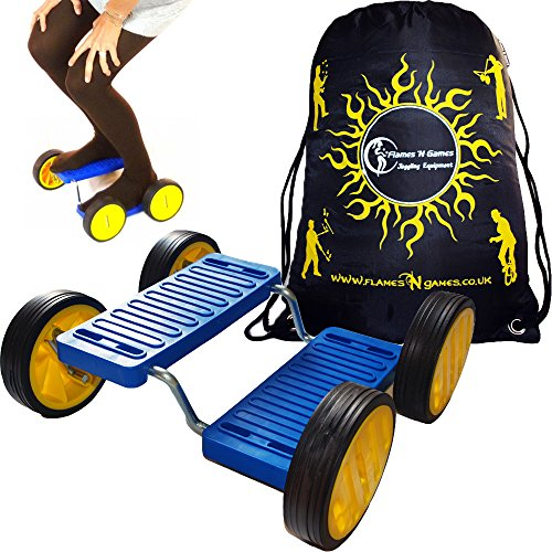 Flames N Games Step Fun + Bolsa de Viaje (Azul) Soporte de Pedal de Equilibrio de Circo