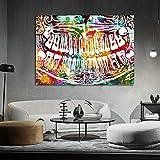 YHHZW Decoración de clínica Dental Colorido Diente Risa Arte Dental Dentista Lienzo Pintura Arte Moderno Cuadro de pared-50x70cm sin Marco