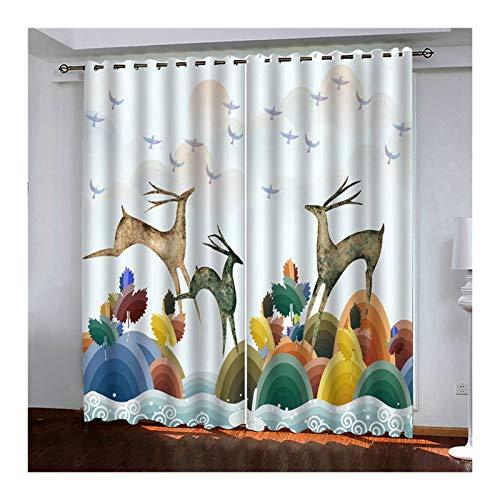 AueDsa Gardinen Aus Polyester Regenbogen mit Tierhirsch Mehrfarbig Blackout Vorhang 98% Vorhänge 2er Set 264x244CM