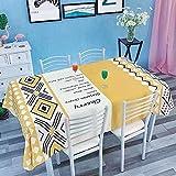 Mantel a Cuadros de Lino de algodón literario nórdico Pescado Azul Todos los años impresión Mantel de Mesa de Restaurante Mantel de café 140x240cm 05