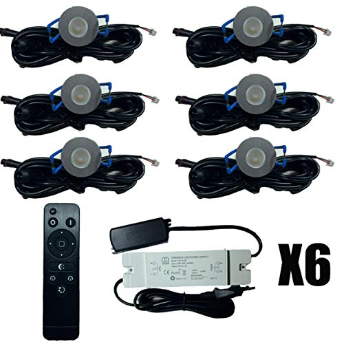 6X LED Beleuchtung 3W Dimmbar mit Fernsteuerung IP65 gegen Spritzwasser (Terrassenüberdachungen)