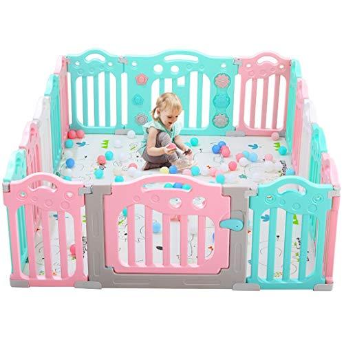 NQ-ChongTian Baby Fence, Home Indoor Outdoor Equipment Centre d'activités for Enfants Aire de Jeu sécurisée - 12 + 1 Porte + 1 Barre de Jeu + Tapis Rampant +100 Balle océanique