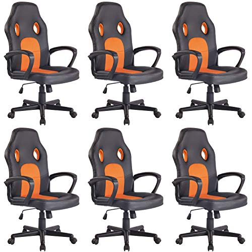 Lüllmann - Silla giratoria de oficina (6 unidades), color negro y naranja