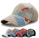 Gorra de Béisbol Hombre Mujer Ajustable Bordado de Algodón Lavado (Caqui)