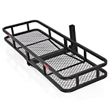 Best Choice Products 60x20in Hitch Mount Steel Cargo Carrier Rack Basket w/Folding Design