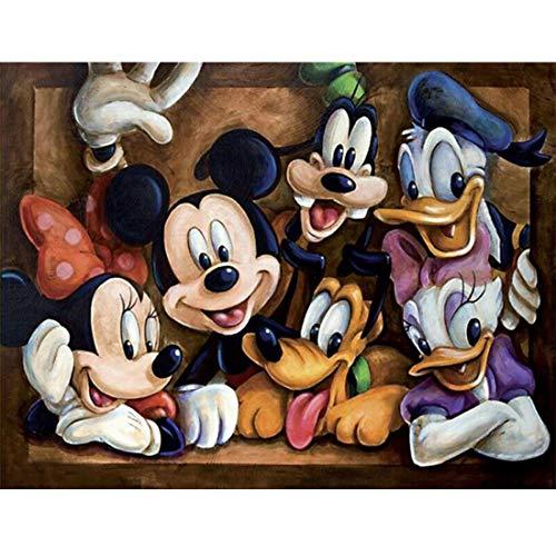 Kits de pintura de diamantes DIY 5D, Disney Mickey Mouse y Donald Duck Crystal Rhinestone Embroidery Arts CraftIdeal para la relajación y la decoración de paredes del hogar, 40 * 30 CM