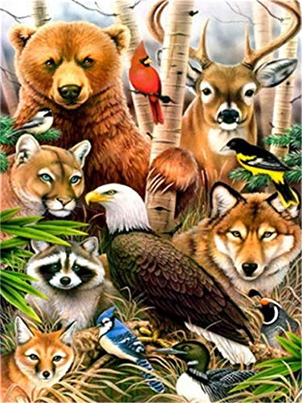 Paint by Numbers Kits DIY Oil Painting Home Decor Wall Value Gift - Animal World 16X20 Inch (Frame)