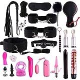 RT-COLOR 22pcs/Set Bëd Bondâge Set for Adult Fun, FetiŚh Leather Nylon Plush Sẹx Toys,Couples Slâve Flirt ŚM Game Tools Kit