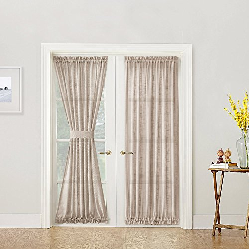 """Linen Textured French Door Curtain Panel Open Weave Sheer French Door Panels with Bonus Tieback, 52"""" x 72"""" Long, Taupe, Sold Individually"""
