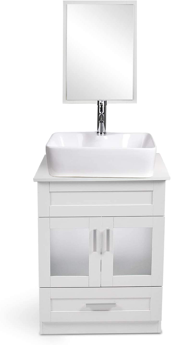 Limited time sale 24 Inches Traditional Bathroom Vanity Single Alternative dealer Set a Cabinet White