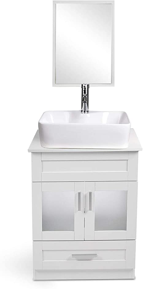 Amazon Com Yourlite 24 Inch White Bathroom Vanity And Sink Combo With Mirror And Water Saving 1 5 Gpm Chrome Faucet Counter Top Floor Cabinet Tools Home Improvement