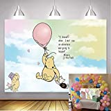 Classic Winnie The Pooh Happy Birthday Backdrop 7x5ft Light Pink Hot Air with Rainbow Clouds Photo Background Baby Children Girls Photography Backdrop Cake Table Background