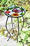 Iron/Glass Round Mosaic Design Side Table Garden Outdoor Patio Flower Plant Stand (Small Butterfly)